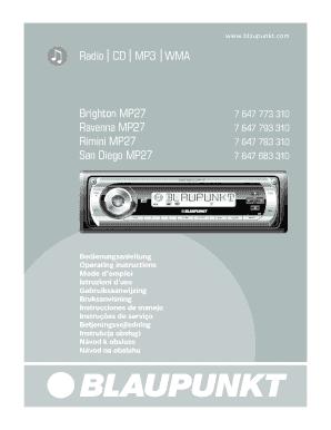 fillable online blaupunkt rimini mp27 car radio owner s manual rh pdffiller com blaupunkt car stereo manual blaupunkt car 300 radio manual