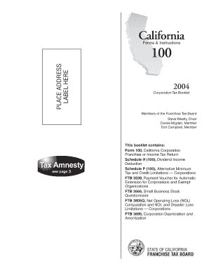 2004 Corporation Tax Booklet. California Form 100 & Instructions - ftb ca