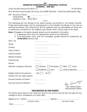 Fillable school leaving certificate format of cbse edit online sri srimathi sundaravalli memorial school yelopaper Choice Image