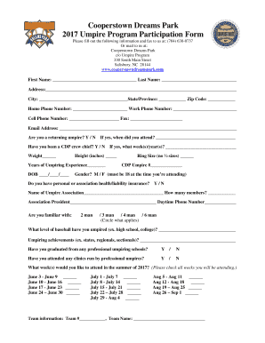 fillable online cooperstown dreams park umpire resume fax email