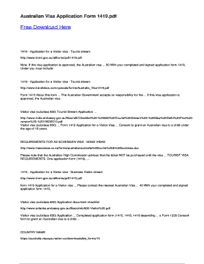 Australian Visa Application Form For Business, Fillable Online Australian Visa Application Form 1419 Pdfsdocuments2 Com Fax Email Print Pdffiller, Australian Visa Application Form For Business