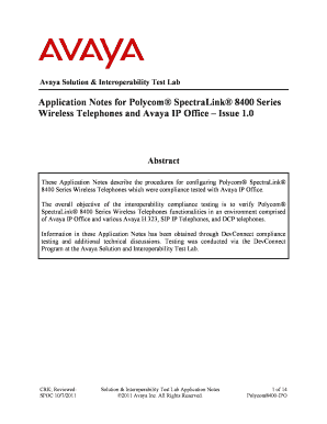 Application Notes for Polycom SpectraLink 8400 Series Wireless Telephones and Avaya IP Office