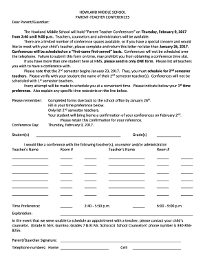 parent teacher conference time confirmation form - Fill Out