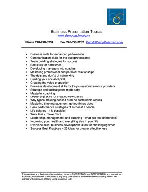 Fillable Online Business Presentation Topics pdf - Barry