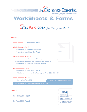 Fillable Online 1031TaxPak WorkSheets - 1031 Exchange Experts Fax ...