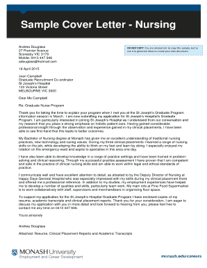 19 Printable sample cover letter for nursing job application Forms ...