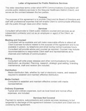 Agreement letter between two parties forms and templates for Public relations agreement template