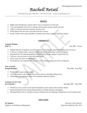 chronological style resume