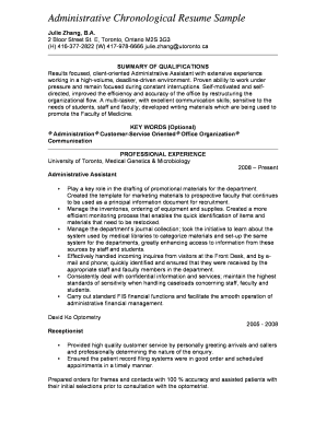 Administrative Chronological Resume Sample