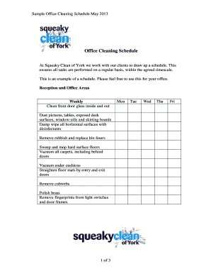 9 printable weekly cleaning schedule pdf forms and templates office cleaning schedule template maxwellsz