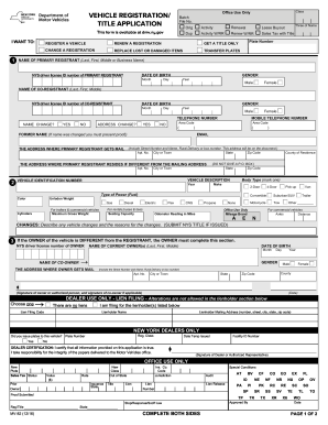 Ny Dmv Registration Form >> Fillable Online Dmv Ny Mv82 Vehicle Registration Title