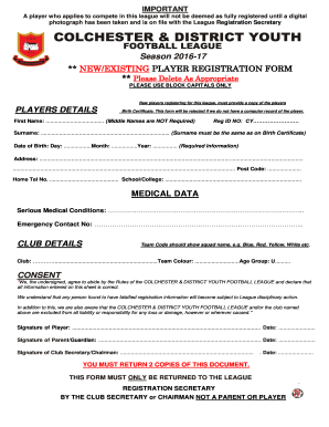 Registration Form Colchester Amp District Youth Football League