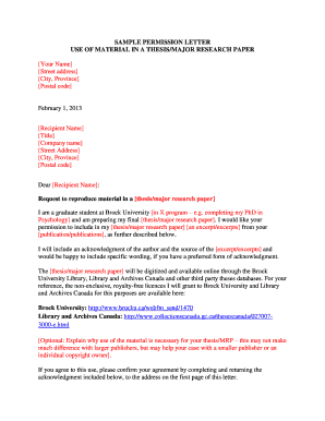 Sample letter granting permission to conduct research fill out sample permission letter use of brock university spiritdancerdesigns Images