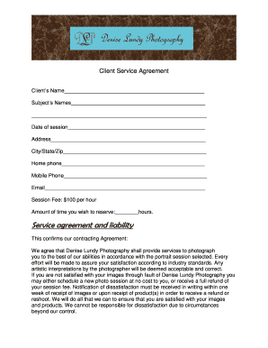 Photography Copyright Release Form For Clients. Client Service Agreement    Denise Lundy Photography