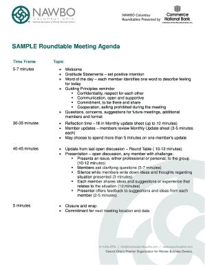 Astounding Fillable Online Sample Roundtable Meeting Agenda Nawbo Home Interior And Landscaping Ologienasavecom