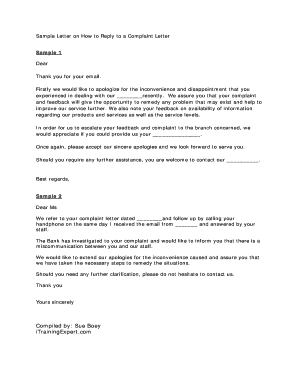 Replying to a complaint letter template image collections template fillable sample email reply to customer complaint edit print sample letter on how to reply to spiritdancerdesigns Images