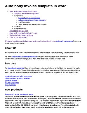 Fillable Online Sodzo Rg Auto Body Invoice Template In Word - Auto body invoice template