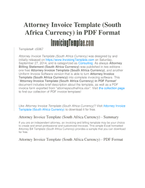 Attorney Invoice Template South Africa Currency In PDF Format Fill - Online invoice south africa