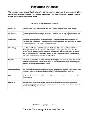 sample resume format navy mwr navymwr - Chronological Resume Format