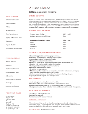 student Office assistant resume CV template. A professionally written office assistant resume that has been written from the angle of a young person who has no actual work experience, but who has a lot of potential.