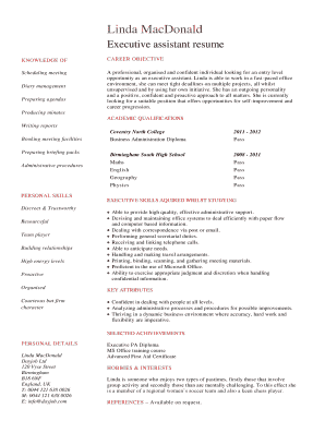 student executive assistant resume CV template. A executive assistant resume sample written from the view of a applicant who has no work experience but a lot of potential.