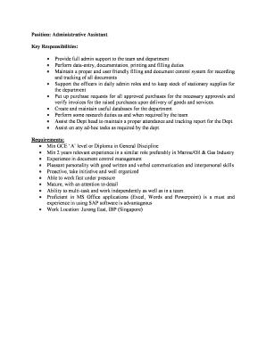 administrative assistant responsibilities