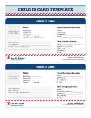 Child identification card template for Emergency contact form template for child