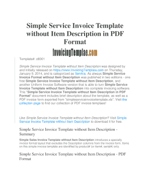 fillable online simple service invoice template without item