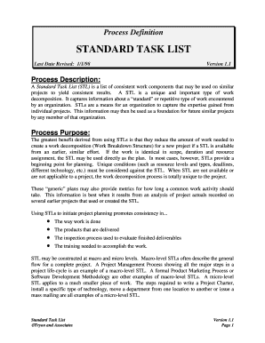 standard task list definition process tryon and associates task checklist template
