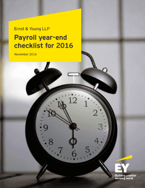 Fillable Online Ernst & Young LLP Payroll year-end checklist