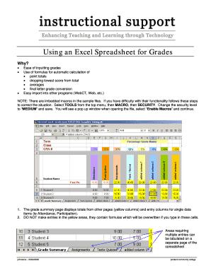 excel grade sheet formula - Edit, Fill Out, Print & Download