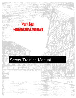 Editable restaurant training manual pdf - Fillable