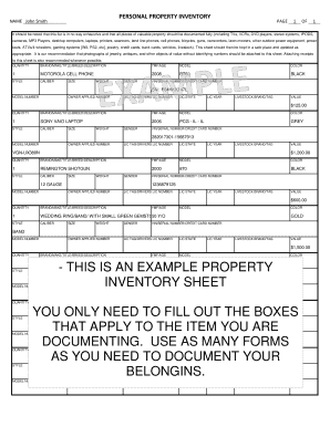 personal property inventory sheet Forms and Templates - Fillable ...