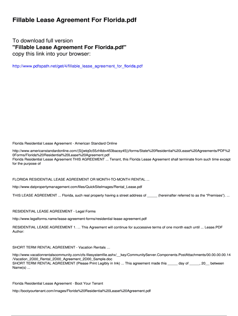 Fillable Lease Agreement For Florida Pdfslibforme Com Fill