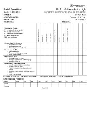 grade 7 report card  Fillable Online Grade 7-7 Report Card - inschool.ednet.ns.ca ...