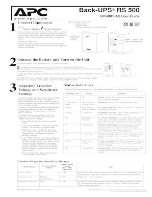 fillable online apc back ups rs 500 user guide installation rh pdffiller com apc es 500 user manual apc 500 user manual