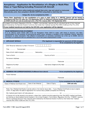 SRG1119B - Aeroplanes Application for Revalidation of a Single or Multi-Pilot Class or Type Rating Including Powered Lift Aircraft