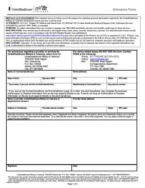 Fillable Online Grievance Form - UHC Military West Fax Email Print ...