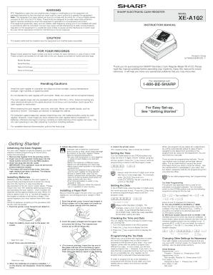 fillable online xe a102 operation manual operation manual for the rh pdffiller com sharp xe-a102 manual uk sharp xe-a102 manuel français