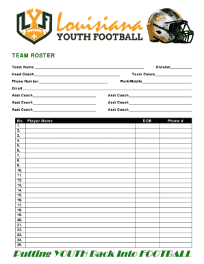 Fillable Online Louisiana Youth Football Team Roster Form