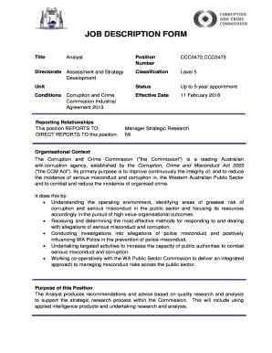 23 printable job description form templates fillable samples in