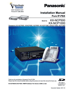 fillable online panasonic kx ncp500 kx ncp1000 installation manual rh pdffiller com kx-ncp500 manual pdf panasonic kx-ncp500 feature manual