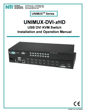 fillable online unimux dvi xhd usb dvi kvm switch installation and