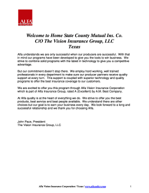 Fillable Online Welcome To Home State County Mutual Ins Co C O The