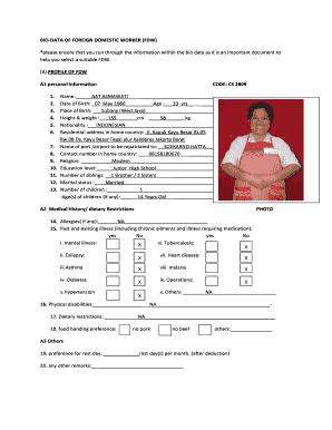 Biodata Format For Domestic Helper Fill Online Printable