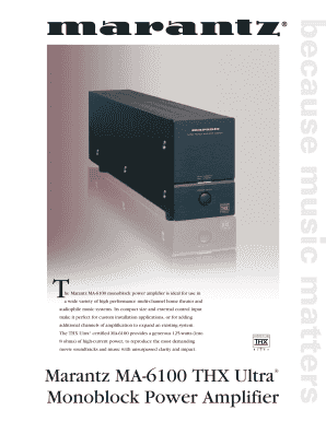 fillable online he marantz ma 6100 monoblock power amplifier is rh pdffiller com Marantz SM 6100 Specs Marantz MM7055