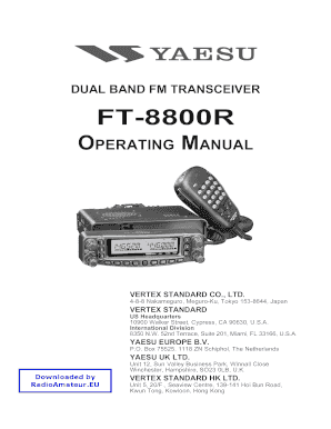 fillable online yaesu ft 8800 user manual dual band rtx fax email rh pdffiller com yaesu ft 7800 service manual Yaesu FT 8800 Mods