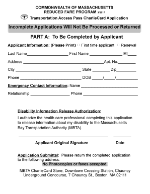 Fillable Online Transportation Access Pass Application March