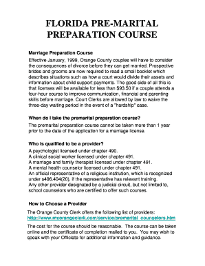 Printable florida premarital course free Form to Submit Online | pre