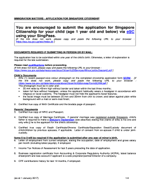 items to note for renunciation of singapore citizenship Fill Online